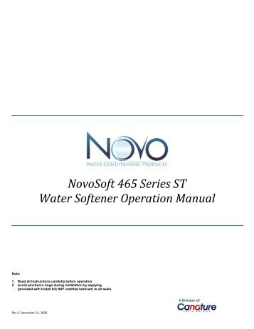 Water Softener Operation Manual - Novo Water Conditioning