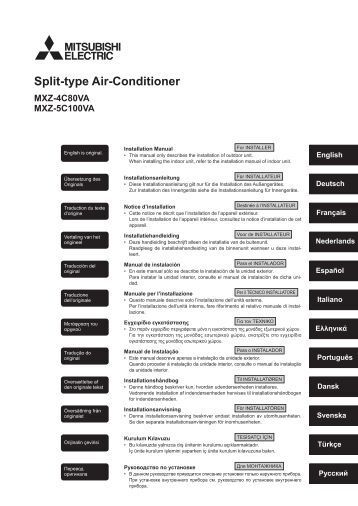 hitachi split-unit air conditioner installation manual