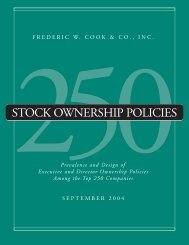 STOCK OWNERSHIP POLICIES - Frederic W. Cook & Co., Inc.