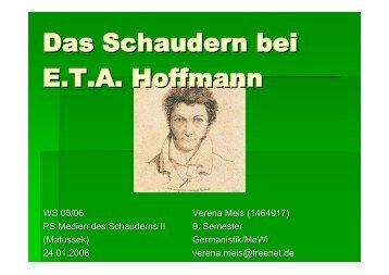 Das Schaudern bei E.T.A. Hoffmann - Peter Matusseks