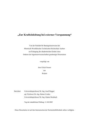 """""""Zur Krafteinleitung bei externer Vorspannung"""" - RWTH Aachen ..."""