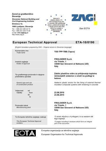 European Technical Approval ETA-10/0190 - Etanco