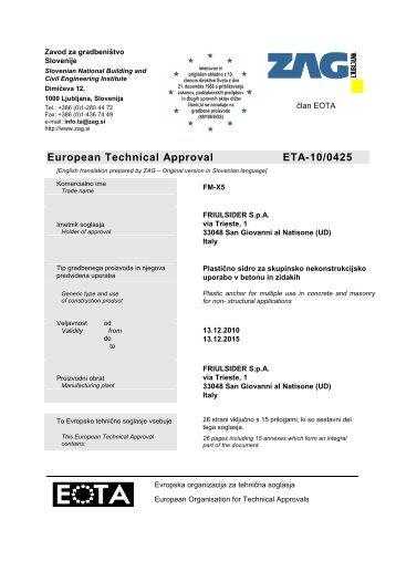 European Technical Approval ETA-10/0425 - Etanco