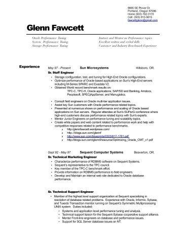 Professional Resume - Glenn Fawcett's Oracle blog