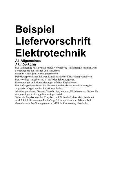 Beispiel Liefervorschrift Elektrotechnik Steuerungstechnik Heller