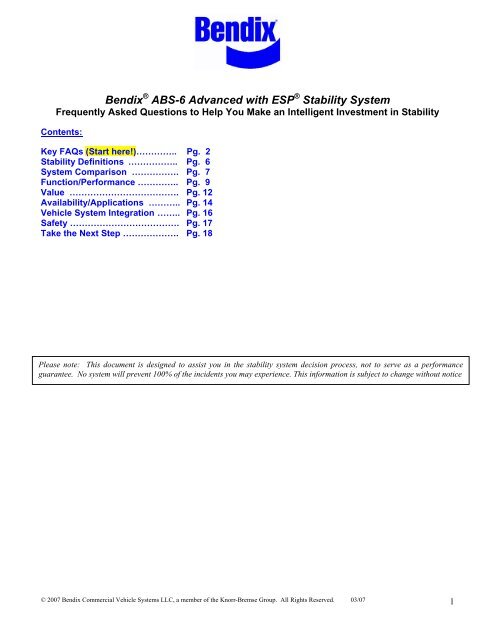 Bendix ABS 6 Advanced With ESP Stability System