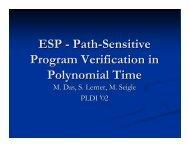 ESP - Path-Sensitive Program Verification in Polynomial Time