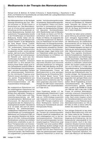 Medikamente in der Therapie des Mammakarzinoms - Medizinische ...
