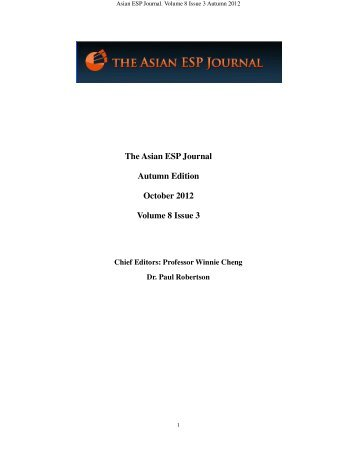 The Asian ESP Journal Autumn Edition October 2012 Volume 8 ...