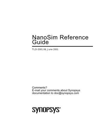 "NanoSim Reference Guide, 2001.06 - ""Frank""?"