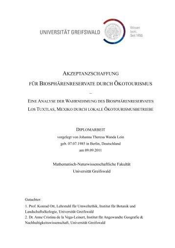 akzeptanzschaffung für biosphärenreservate durch ökotourismus