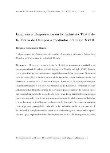 Empresa y Empresarios en la Industria Textil de la Tierra ... - Dialnet