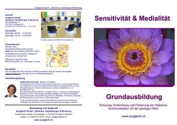 Sensitivität & Medialität Grundausbildung - ausgleich.ch