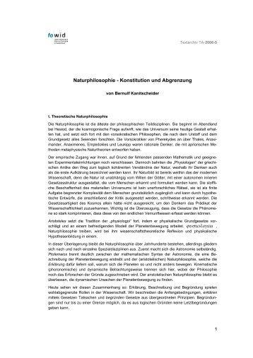 Naturphilosophie - Konstitution und Abgrenzung 1