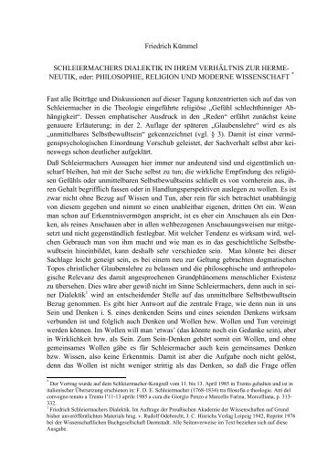 Friedrich Kümmel SCHLEIERMACHERS DIALEKTIK IN IHREM ...