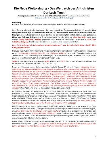 Die Neue Weltordnung - Das Weltreich des Antichristen - Der Lucis ...