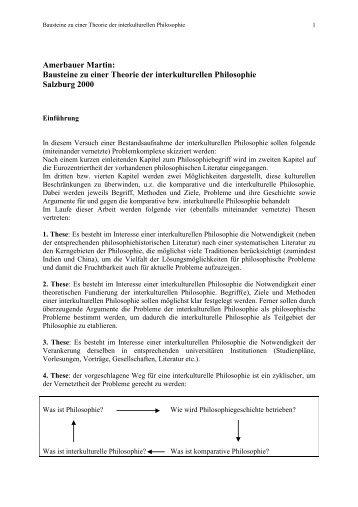Amerbauer Martin: Bausteine zu einer Theorie der interkulturellen ...