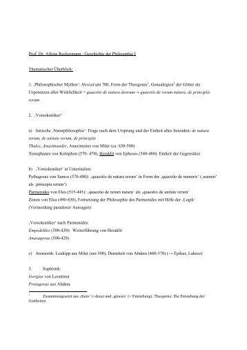 Prof. Dr. Alfons Reckermann : Geschichte der Philosophie I ...
