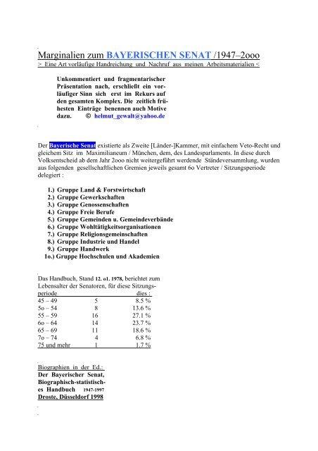 Marginalien zum BAYERISCHEN SENAT /1947–2ooo