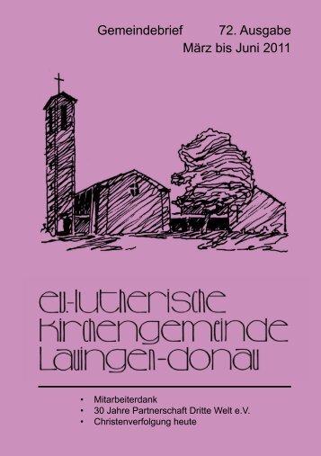 Gemeindebrief 72. Ausgabe März bis Juni 2011