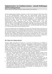 Implementation von Schulinnovationen - Pädagogik und ...