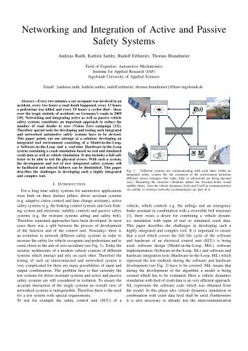 Networking and Integration of Active and Passive Safety Systems