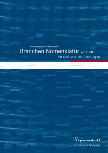 Branchen Nomenklatur WZ 2008 - Firmendatenbank von Hoppenstedt