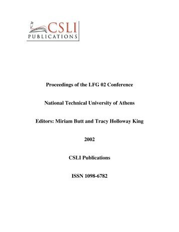 Proceedings of the LFG 02 Conference National Technical - CSLI ...