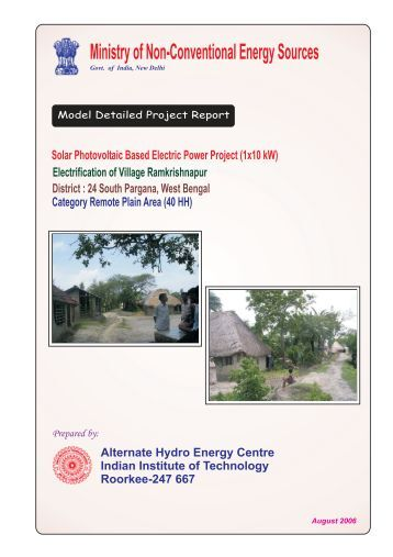 Solar Photovoltaic Based Electric Power Project - AHEC