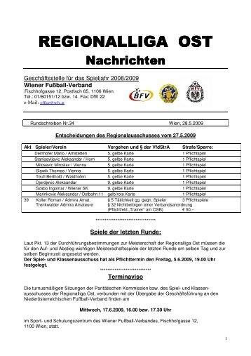 REGIONALLIGA OST REGIONALLIGA OST - Wiener Fußball Verband
