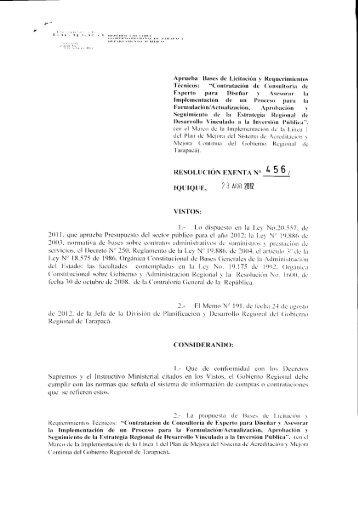 IQUIQUE, mG - Gobierno Regional de Tarapacá