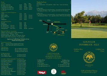 Clubprospekt - Golfclub Innsbruck-Igls