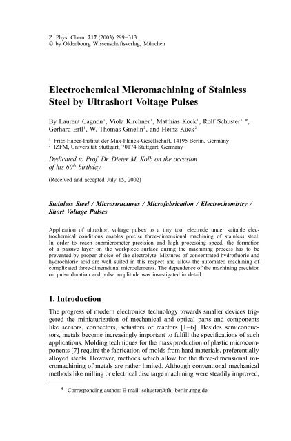 Electrochemical Micromachining of Stainless Steel by Ultrashort ...