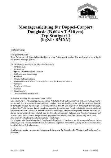 Carport Stuttgart montageanleitung für doppel carport stuttgart gartenhaus park