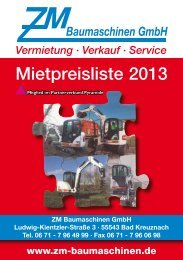 Mietpreisliste 2013 - ZM Baumaschinen GmbH