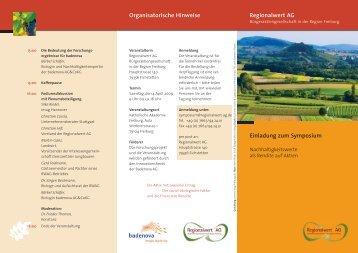 Regionalwert AG Einladung zum Symposium Organisatorische ...