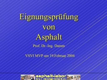 Eignungsprüfung von Asphalt - VSVI-MV