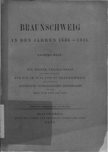 Braunschweig in den Jahren 1806 bis 1815. 2. Heft. Ein Bilder ...