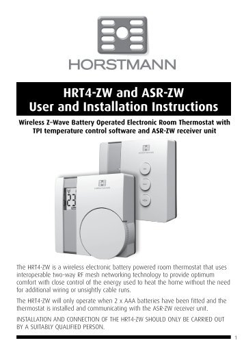 Horstmann 425 range installation instructions hrt4 zw and asr zw user and installation instructions horstmann freerunsca Images