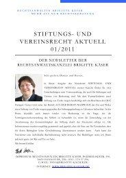 Stiftungs - und Vereinsrecht - Rechtsanwältin Brigitte Käser