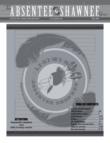 attention: table of contents - Absentee Shawnee Tribe Of Oklahoma