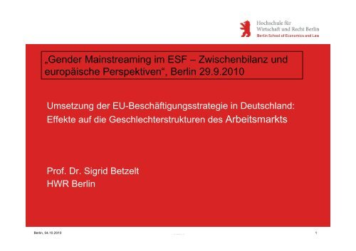 Präsentation S. Betzelt - Agentur für Gleichstellung im ESF