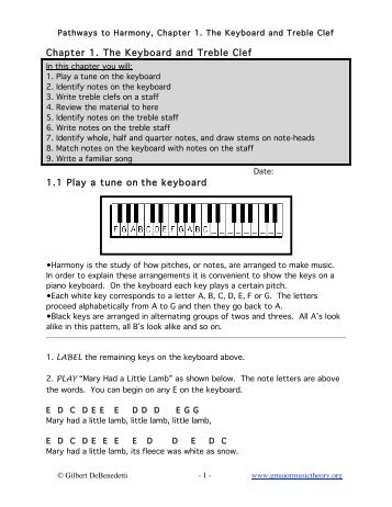 Chapter 1. The Keyboard and Treble Clef 1.1 Play a tune on the ...