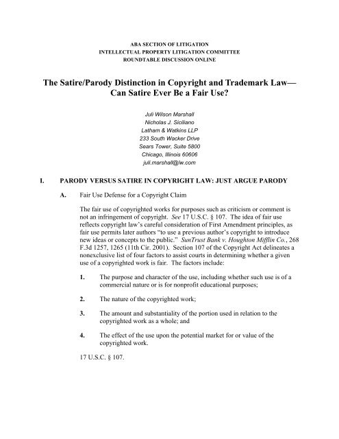 The Satire Parody Distinction In Copyright And Trademark Law