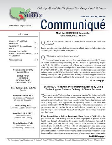 Communique' Vol 14, No 6 - June 2012 - MIRECCs
