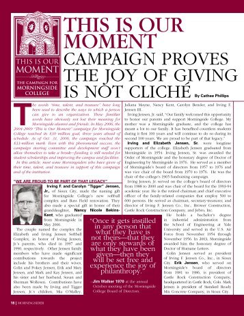 this is our moment: campaign proves that giving - Morningside College