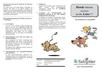 Hunde müssen an die Leine - ein Merkblatt zum - Stadt Salzgitter