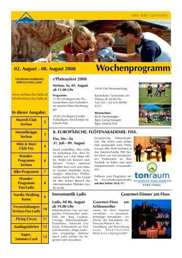 Wochenprogramm 02. August - Tirol