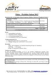 Polen – Preisliste Saison 2013 - Adlertours.de