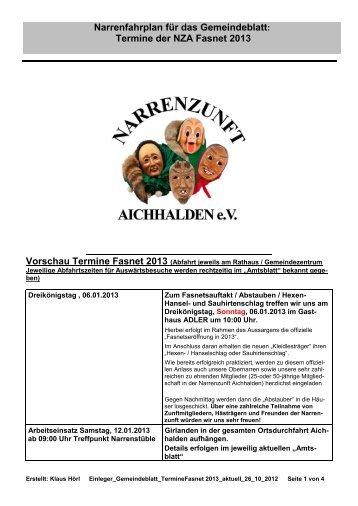 Termine der NZA Fasnet 2013 - Narrenzunft Aichhalden